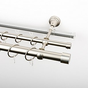 """Карниз металлический стыкованный c наконечниками """"Кофу"""", 3-рядный, хром матовый, гладкая труба, ø 25 мм"""