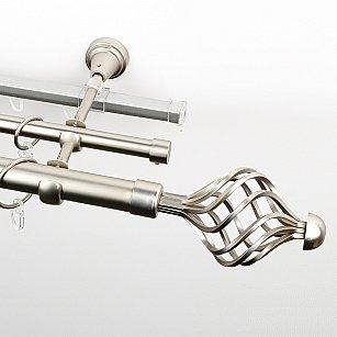 """Карниз металлический стыкованный c наконечниками """"Вито"""", 3-рядный, хром матовый, гладкая труба, ø 25 мм"""