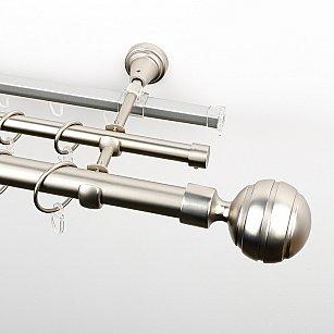 """Карниз металлический стыкованный c наконечниками """"Омега"""", 3-рядный, хром матовый, гладкая труба, ø 25 мм"""