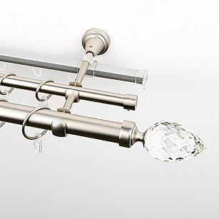 """Карниз металлический стыкованный c наконечниками """"Орегон"""", 3-рядный, хром матовый, гладкая труба, ø 25 мм"""