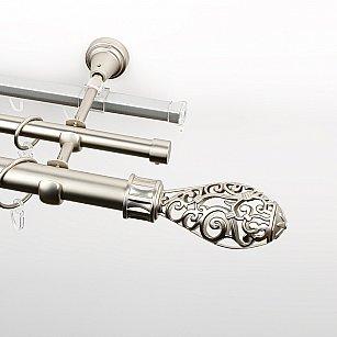 """Карниз металлический стыкованный c наконечниками """"Версаль"""", 3-рядный, хром матовый, гладкая труба, ø 25 мм"""