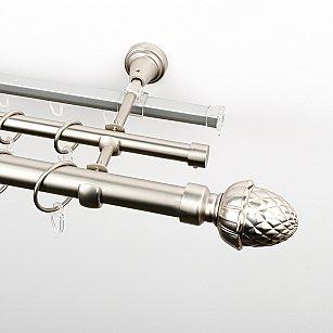 """Карниз металлический стыкованный c наконечниками """"Агра"""", 3-рядный, хром матовый, гладкая труба, ø 25 мм"""