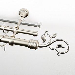"""Карниз металлический стыкованный c наконечниками """"Флора"""", 3-рядный, хром матовый, гладкая труба, ø 25 мм"""