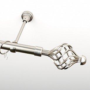 """Карниз металлический стыкованный, 1-рядный """"Вито"""", хром матовый, гладкая труба, ø 25 мм"""