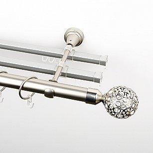 """Карниз металлический стыкованный с U-шинами и наконечниками """"Лацио"""", 3-рядный, хром матовый, гладкая труба, ø 25 мм"""