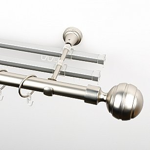 """Карниз металлический стыкованный с U-шинами и наконечниками """"Омега"""", 3-рядный, хром матовый, гладкая труба, ø 25 мм"""