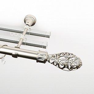 """Карниз металлический стыкованный с U-шинами и наконечниками """"Версаль"""", 3-рядный, хром матовый, гладкая труба, ø 25 мм"""