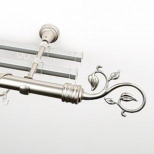 """Карниз металлический стыкованный с U-шинами и наконечниками """"Флора"""", 3-рядный, хром матовый, гладкая труба, ø 25 мм"""