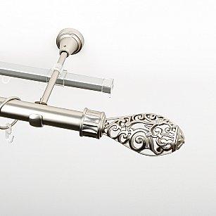 """Карниз металлический стыкованный c наконечниками """"Версаль"""", 2-рядный, хром матовый, гладкая труба, ø 25 мм"""