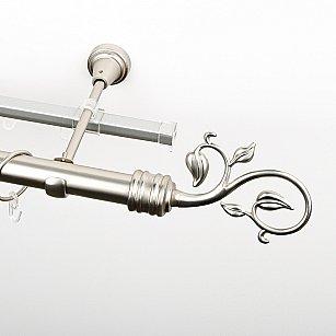 """Карниз металлический стыкованный c наконечниками """"Флора"""", 2-рядный, хром матовый, гладкая труба, ø 25 мм"""