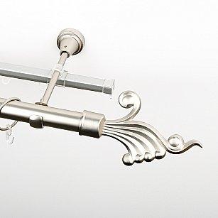 """Карниз металлический стыкованный c наконечниками """"Верди"""", 2-рядный, хром матовый, гладкая труба, ø 25 мм"""
