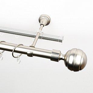 """Карниз металлический стыкованный c наконечниками """"Омега"""", 2-рядный, хром матовый, гладкая труба, ø 25 мм"""