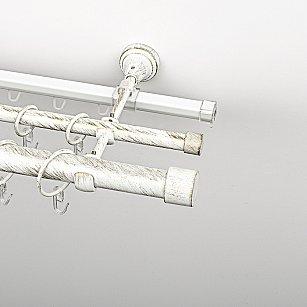 """Карниз металлический стыкованный c наконечниками """"Кофу"""", 3-рядный, белое золото, гладкая труба, ø 25 мм"""