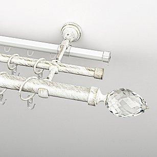 """Карниз металлический стыкованный c наконечниками """"Орегон"""", 3-рядный, белое золото, гладкая труба, ø 25 мм"""