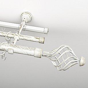 """Карниз металлический стыкованный c наконечниками """"Вито"""", 3-рядный, белое золото, гладкая труба, ø 25 мм"""