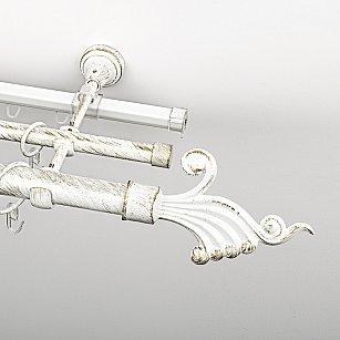 """Карниз металлический стыкованный c наконечниками """"Верди"""", 3-рядный, белое золото, гладкая труба, ø 25 мм"""