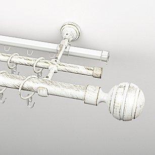 """Карниз металлический стыкованный c наконечниками """"Омега"""", 3-рядный, белое золото, гладкая труба, ø 25 мм"""