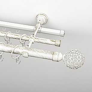 """Карниз металлический стыкованный c наконечниками """"Лацио"""", 3-рядный, белое золото, гладкая труба, ø 25 мм"""