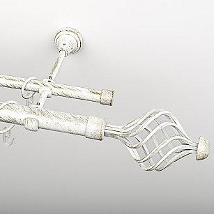 """Карниз металлический стыкованный, 2-рядный """"Вито"""", белое золото, гладкая труба, ø 25 мм"""