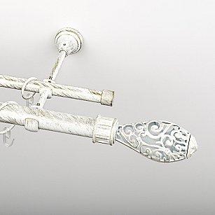 """Карниз металлический стыкованный, 2-рядный """"Версаль"""", белое золото, гладкая труба, ø 25 мм"""