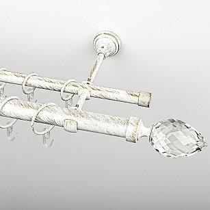 """Карниз металлический стыкованный, 2-рядный """"Орегон"""", белое золото, гладкая труба, ø 25 мм"""