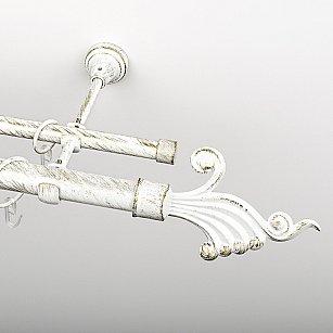 """Карниз металлический стыкованный, 2-рядный """"Верди"""", белое золото, гладкая труба, ø 25 мм"""