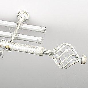 """Карниз металлический стыкованный с U-шинами и наконечниками """"Вито"""", 3-рядный, белое золото, гладкая труба, ø 25 мм"""