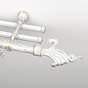 """Карниз металлический стыкованный с U-шинами и наконечниками """"Верди"""", 3-рядный, белое золото, гладкая труба, ø 25 мм"""