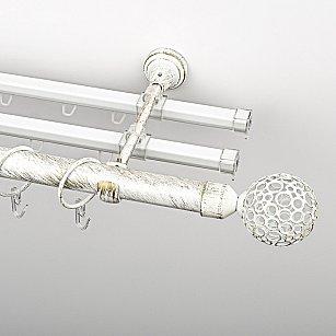 """Карниз металлический стыкованный с U-шинами и наконечниками """"Лацио"""", 3-рядный, белое золото, гладкая труба, ø 25 мм"""