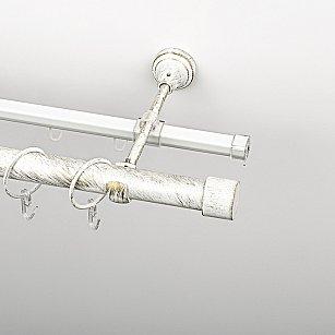 """Карниз металлический стыкованный c наконечниками """"Кофу"""", 2-рядный, белое золото, гладкая труба, ø 25 мм"""