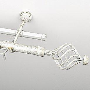 """Карниз металлический стыкованный c наконечниками """"Вито"""", 2-рядный, белое золото, гладкая труба, ø 25 мм"""