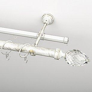 """Карниз металлический стыкованный c наконечниками """"Орегон"""", 2-рядный, белое золото, гладкая труба, ø 25 мм"""