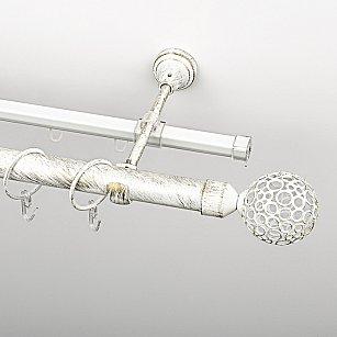 """Карниз металлический стыкованный c наконечниками """"Лацио"""", 2-рядный, белое золото, гладкая труба, ø 25 мм"""