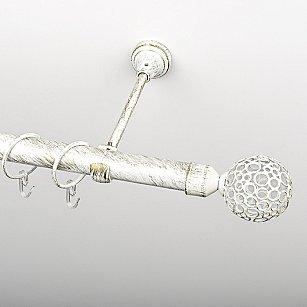 """Карниз металлический стыкованный, 1-рядный """"Лацио"""", белое золото, гладкая труба, ø 25 мм"""