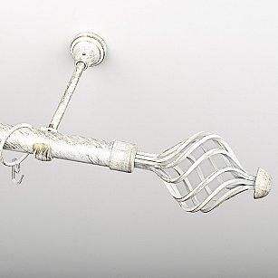 """Карниз металлический стыкованный, 1-рядный """"Вито"""", белое золото, гладкая труба, ø 25 мм"""