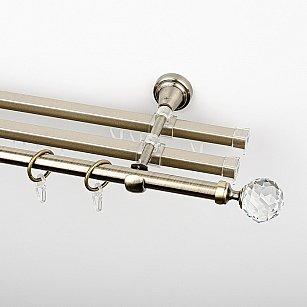 """Карниз металлический стыкованный с U-шинами и наконечниками """"Леда"""", 3-рядный, золото антик, гладкая труба, ø 16 мм"""