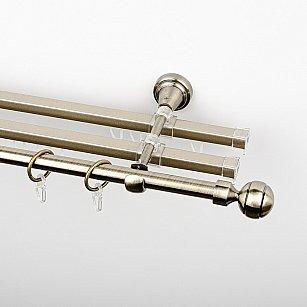 """Карниз металлический стыкованный с U-шинами и наконечниками """"Каро"""", 3-рядный, золото антик, гладкая труба, ø 16 мм"""