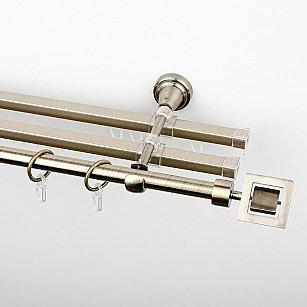 """Карниз металлический стыкованный с U-шинами и наконечниками """"Гарда"""", 3-рядный, золото антик, гладкая труба, ø 16 мм"""