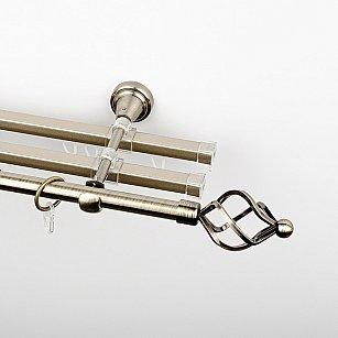 """Карниз металлический стыкованный с U-шинами и наконечниками """"Авея"""", 3-рядный, золото антик, гладкая труба, ø 16 мм"""