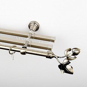 """Карниз металлический стыкованный с U-шинами и наконечниками """"Тоскана"""", 3-рядный, золото антик, гладкая труба, ø 16 мм"""