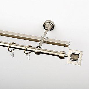 """Карниз металлический стыкованный c наконечниками """"Гарда"""", 2-рядный, золото антик, гладкая труба, ø 16 мм"""