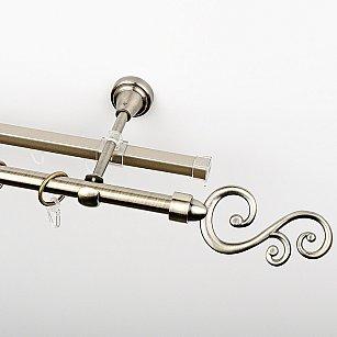 """Карниз металлический стыкованный c наконечниками """"Виола"""", 2-рядный, золото антик, гладкая труба, ø 16 мм"""