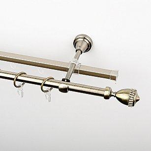 """Карниз металлический стыкованный c наконечниками """"Верона"""", 2-рядный, золото антик, гладкая труба, ø 16 мм"""