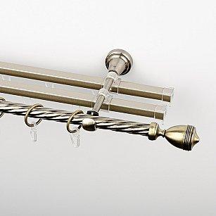 """Карниз металлический стыкованный с U-шинами и наконечниками """"Ремус"""", 3-рядный, золото антик, крученая труба, ø 16 мм"""