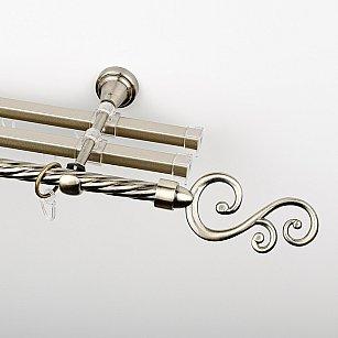"""Карниз металлический стыкованный с U-шинами и наконечниками """"Виола"""", 3-рядный, золото антик, крученая труба, ø 16 мм"""