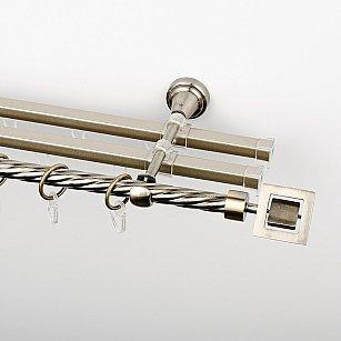 """Карниз металлический стыкованный с U-шинами и наконечниками """"Гарда"""", 3-рядный, золото антик, крученая труба, ø 16 мм"""