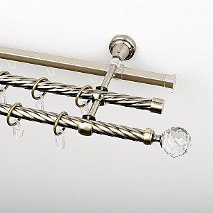 """Карниз металлический стыкованный c наконечниками """"Леда"""", 3-рядный, золото антик, крученая труба, ø 16 мм"""