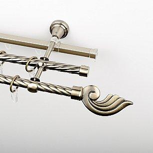 """Карниз металлический стыкованный c наконечниками """"Генуя"""", 3-рядный, золото антик, крученая труба, ø 16 мм"""