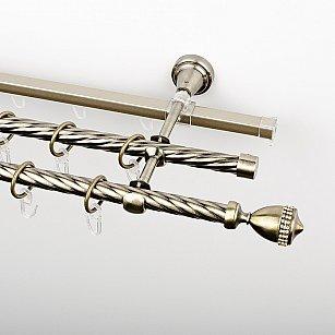 """Карниз металлический стыкованный c наконечниками """"Верона"""", 3-рядный, золото антик, крученая труба, ø 16 мм"""