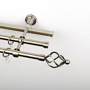 """Карниз металлический стыкованный c наконечниками """"Авея"""", 3-рядный, золото антик, гладкая труба, ø 16 мм"""